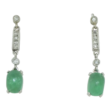 Art Deco 18K White Gold Emerald & Diamond Earrings