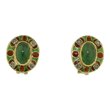 18K Emerald Diamond & Enamel Earrings