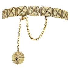 Victorian 14k Bracelet With Ball Charm Fob