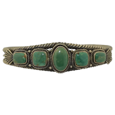 Vintage Navajo Green Nevada Turquoise Cuff Bracelet Sterling Silver Signed