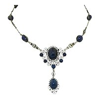 Antique 800 Silver & Lapis Italian Cini Style Necklace