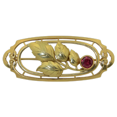 14K Yellow Gold Brooch with 1/2CT Ruby