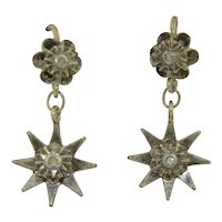 Early Victorian 10K & Sterling Silver Diamond Star Drop Earrings