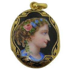 Victorian 14K Enamel Portrait Locket
