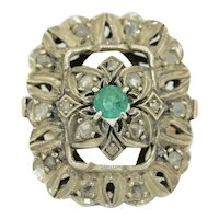 LARGE Edwardian Emerald & Diamond Ring in 10K & Sterling Silver