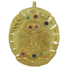 HUGE 18K Owl & Snake Pendant-Pin with Rubies Sapphires and Emeralds 41 Grams