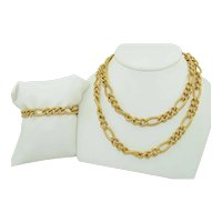 76.7 Grams of 14K Fancy Link Necklace & Bracelet Suite