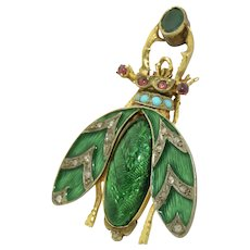 Stunning and Huge 14K Antique Beetle in Enamel, Diamonds, Turquoise & Emerald Pendant Brooch
