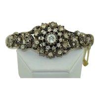 Georgian Rose Cut Diamond Bracelet in 14K & Sterling Silver