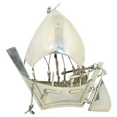 Vintage Sterling Silver Three Dimensional Sail Boat 4""