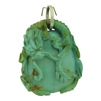 Antique Chinese Solid Turquoise Dragon Pendant