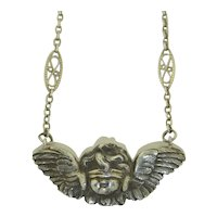 "Victorian Sterling Silver ""Love is Blind"" Angel Cherub Necklace"