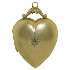 Victorian Rose Cut Diamond Rolled Gold Heart Locket