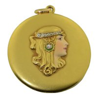 "14K Art Nouveau enamel & Diamond 2"" Locket"
