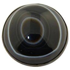 Victorian Round Bulls-eye Agate Cabochon Sterling Silver Brooch