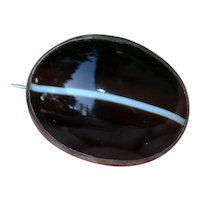 Victorian Oval Banded Agate Brooch in Sterling Silver