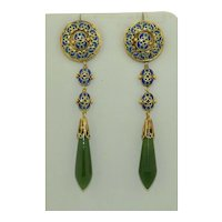 14K Art Nouveau Pilque a Jour Nephrite Earrings