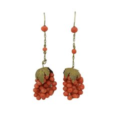 Victorian Sterling Silver Coral Earrings