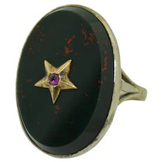Edwardian 9K & Sterling Silver Blood Stone and Ruby Star Ring