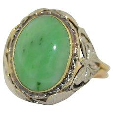 Antique 14K White & Yellow Gold Yummy Green Jade Ring