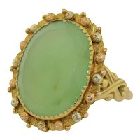 Art Nouveau Large 18K Chrysoprase Ring
