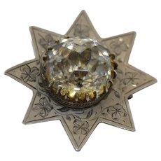 Edwardian Sterling Silver Black Dot Paste Star Brooch
