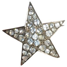Victorian Sterling Silver Paste Star Brooch