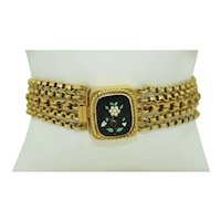 Fabulous Solid 14K Yellow Gold Edwardian Chain Bracelet with Hand Painted Onyx