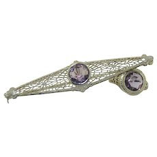 Art Deco 14K White Gold Filigree Ring & Brooch Set