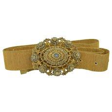 Solid Sterling Silver - Gold Gilt  Jargoon Jeweled Belt, Pendant, Brooch
