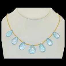 Elif Dogan 24K Blue Topaz Drop Necklace