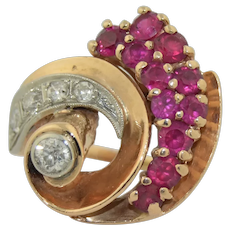 Art Deco 14K Rose & White Gold Diamond and Ruby Cocktail Ring