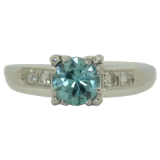 Platinum Blue Zircon & Diamond Ring