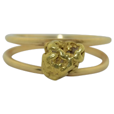 Vintage 22K Gold Nugget  in 14K Band Ring