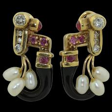 Estate 14K Diamond Ruby Pearl & Enamel Earrings