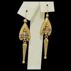 Victorian 14K Quartz Dangle Drop Earrings with Etruscan Work