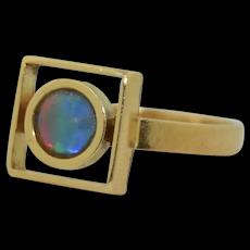 Arts & Crafts 18K Ammolite Ring