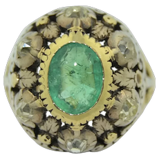 Victorian Emerald & Diamond Bombe Dome Ring in 14K Yellow Gold & Sterling Silver