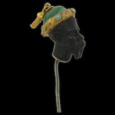Victorian 14K & Sterling Black Coral Malachite Turquoise & Pearl Nubian Blackamoor Stick Pin
