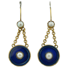Antique 15k Blue Enamel & Split Pearl Earrings