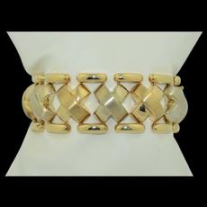 Wide 1 1/8 inch 14k White & Yellow Gold Bracelet 48 grams