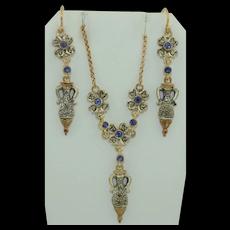 Art Deco 14K & Sterling Silver Diamond & Sapphire Parure Set Earrings and Necklace