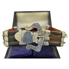 Victorian Boxed Scottish Sterling Silver Agate Bracelet