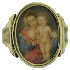 Antique Hand Painted Portrait Ring hallmarks from the Netherlands