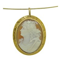 Victorian 14K Sea Maiden Hand Carved Shell Cameo Pendant