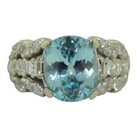 5.5 CTW Blue Zircon & Diamond Ring 14K White Gold