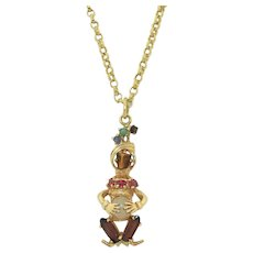 Retro 14K Funny Figural Pendant With Jewels