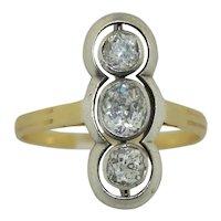 Victorian Old Mine Cut Three Stone Diamond Ring