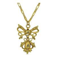 20K Antique Iberian Pendant with Diamonds