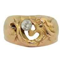 18K Art Nouveau Foo Dog & Diamond Wide Band Ring